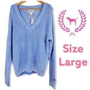 VS Pink Forenza Blue Knit Sweater Large Warm